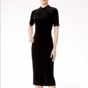 Zara Mock Velvet Black Midi Dress